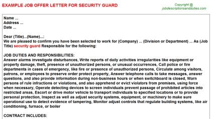 security guard offer letters