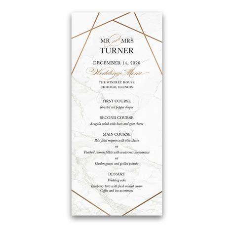 geometric frame wedding invitations marble inlay rose gold