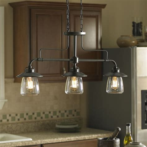 kitchen lights island shop allen roth bristow 36 in w 3 light mission bronze