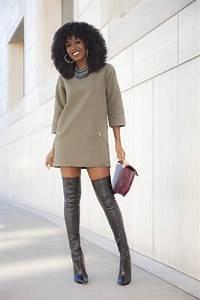 over the knee boots fall winter looks girltalktv With robe pull et cuissarde