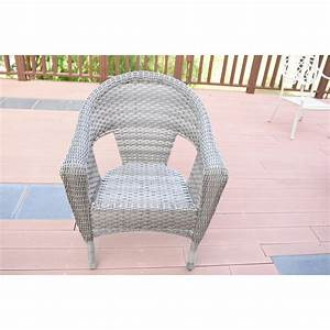 Set Of 2 Grey Resin Wicker Clark Single Chair With 2 Inch