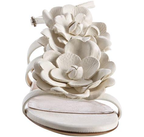 valentino flower leather sandals  white lyst
