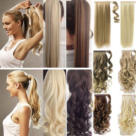 real  clip  hair extension pony tail wrap