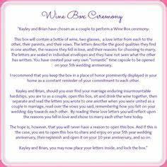 1000 ideas about wine box ceremony on pinterest wedding With unique wedding ceremony script