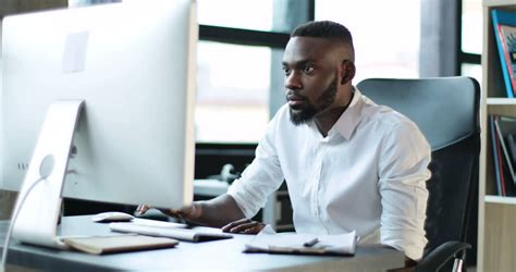 handsome young black man working stock footage video