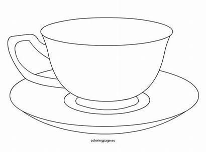 Cup Tea Teacup Coloring Template Saucer Drawing