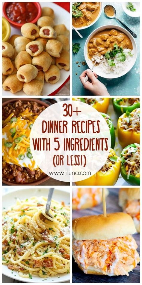 30 5 ingredient or less dinner recipes lil