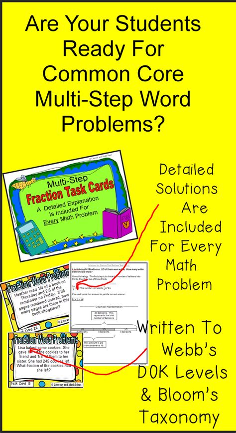Literacy & Math Ideas Multistep Fraction Word Problem Task Cards