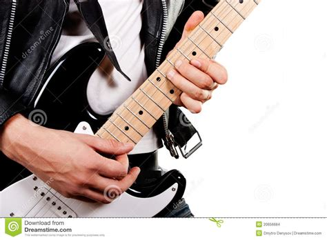 Guitarist Playing On Electric Guitar Stock Photo  Image 20656684