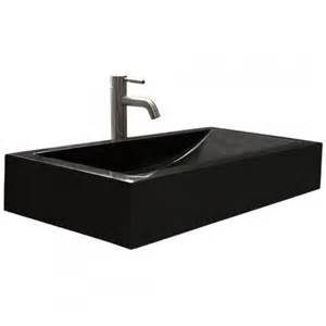 rectangular polished black granite vessel sink with sloped