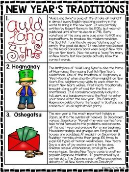 new year s traditions reading comprehension worksheet january resolutions