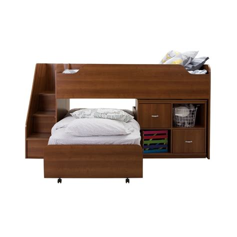 bunk bed with trundle desk and storage mobby morgan cherry twin loft bed with trundle and storage