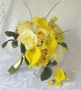Yellow rose wedding calla lily wedding bouquet real touch ...