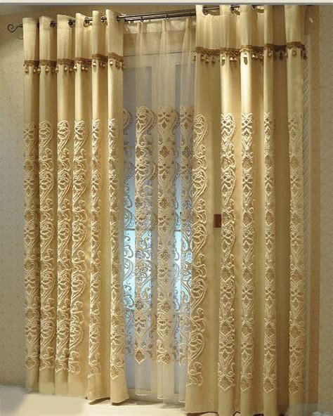 Quality Curtains And Drapes - high quality towel golden yarn embroidery imitated linen