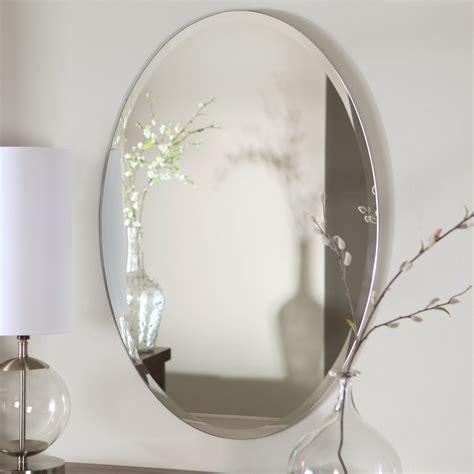 Oval Shape Frameless Bathroom Wall Mirror Hang On Grey