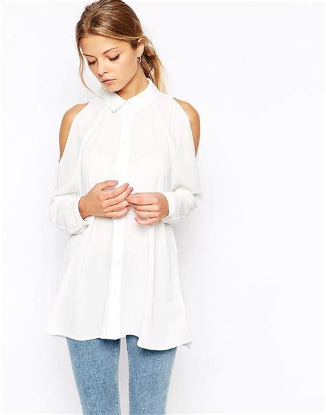 cold shoulder blouses asos asos cold shoulder blouse at asos
