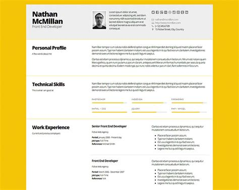 professional html resume templates web graphic