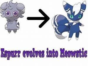 Espurr evolves into Meowstic - YouTube