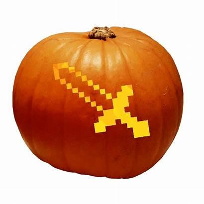 Minecraft Sword Pumpkin Stencil Diamond Carving Carve