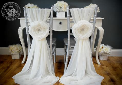 Vintage Glam White Chiffon Chair Covers For Reception…diy