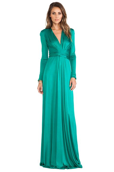 issa florence sleeve maxi dress in green lyst