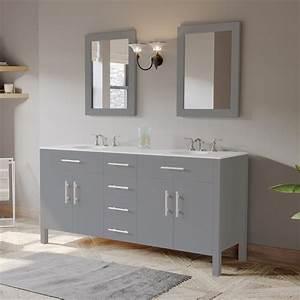 72 U0026quot  Gray Wood And Porcelain Double Basin Sink Vanity Set