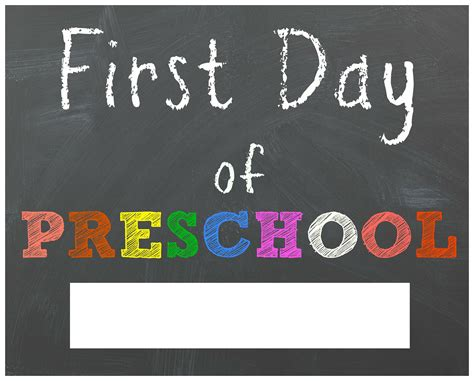 free back to school printable chalkboard signs for 745 | first day of preschool printable sign