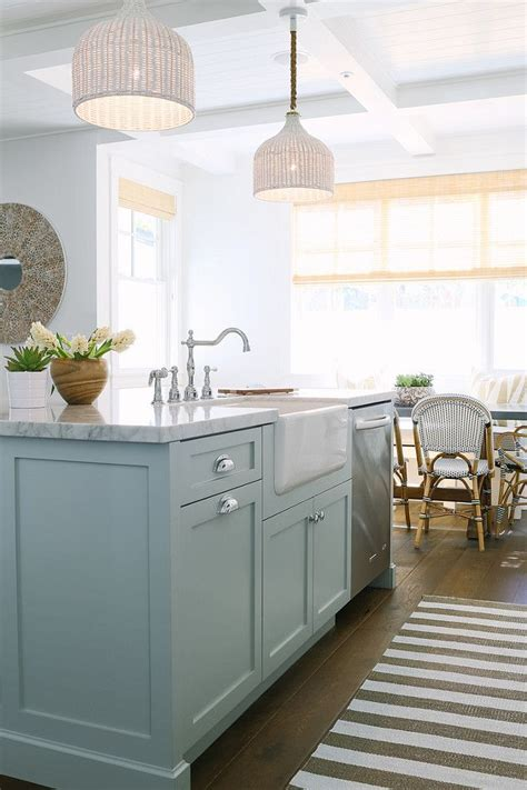 "Inspiring White Kitchen with Light Blue Island   ""Kitchen"