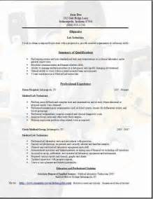 clinical laboratory technician resume sles lab technician resume occupational exles sles free edit with word