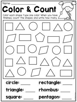 kindergarten    shapes worksheets   teaching
