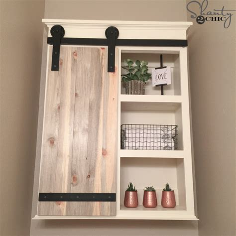 diy sliding barn door bathroom cabinet shanty  chic
