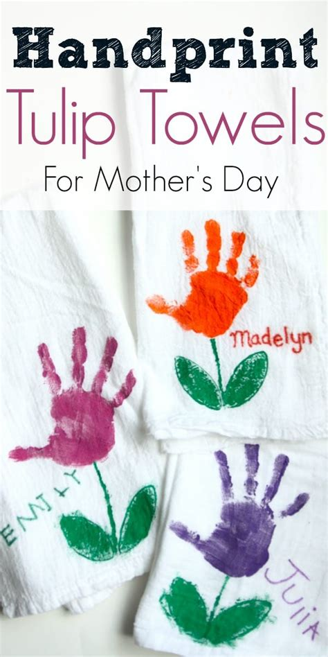handprint tulip towels  mothers day   teach