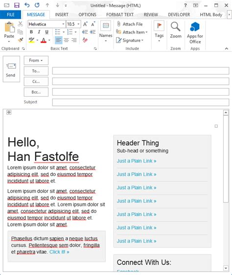 outlook html email template outlook htmlbody a guide for office developers
