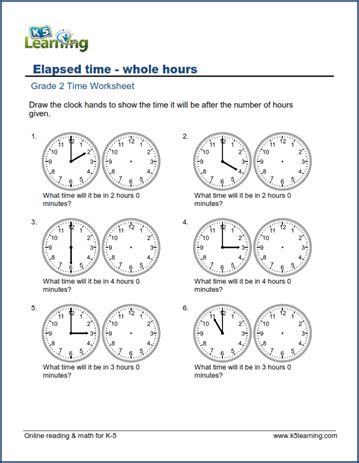 grade 2 time worksheets elapsed time hours k5 learning