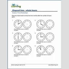 Grade 2 Time Worksheets Elapsed Time (hours)  K5 Learning
