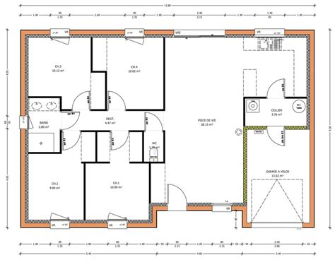 plan maison plain pied 4 chambres garage programmes de maisons à contruire en loire atlantique