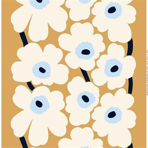 Marimekko Unikko fabric, beige-off white-blue