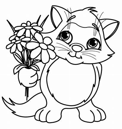 Flowers Cat Coloring Pages Printable Easy Flower