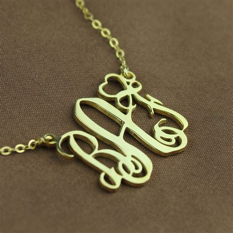 personalized initial monogram necklace solid gold  heart