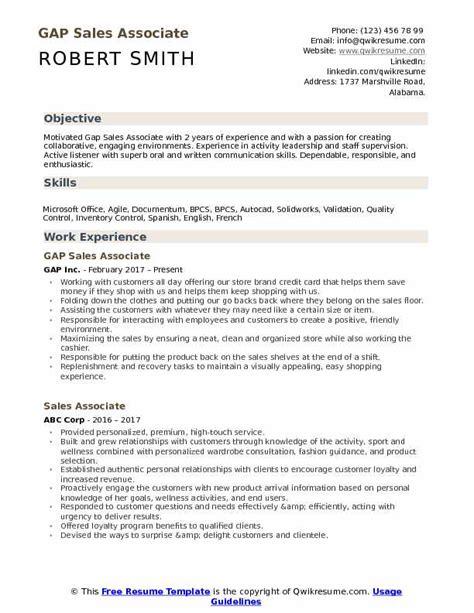 resume objective sles pdf gap sales associate resume sles qwikresume