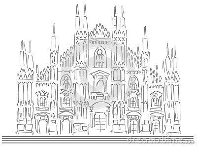 schizzo della cattedrale  milano illustrazione