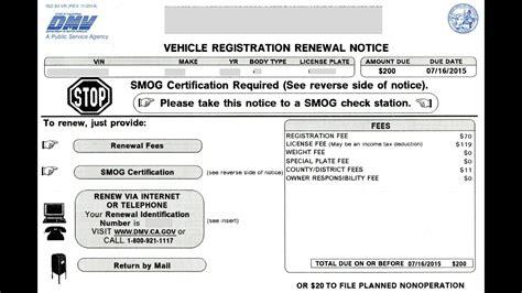 Vehicle Registration Renewal Notice