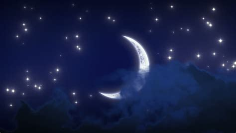 Beautiful New Moon With Stars Stock Footage Video 100