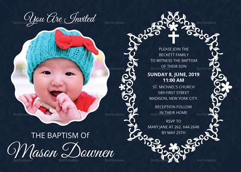 Christening Baptism Invitation Design Template in Word