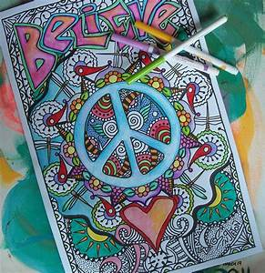 Hippie Coloring Pages Believe in Peace and Love Set of