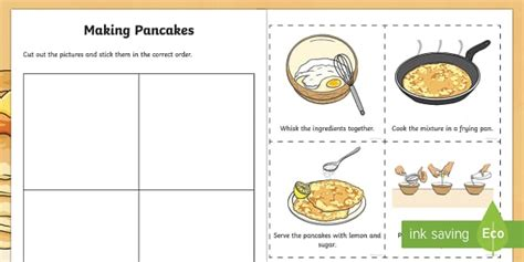 making pancakes sequencing worksheet worksheet pancake