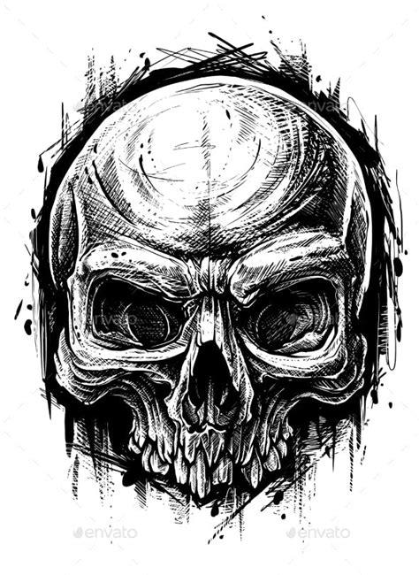 Detailed Graphic Human Skull Trash Polka Line Art by GB