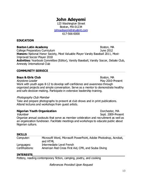 How To Make A Resume For National Honor Society by Teenlife Guide To Writing Resumes