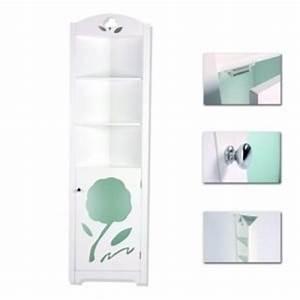 Colonne D Angle Salle De Bain : meuble colonne de rangement d 39 angle pour salle de bain en bois blanc gamme m diterran e ~ Teatrodelosmanantiales.com Idées de Décoration