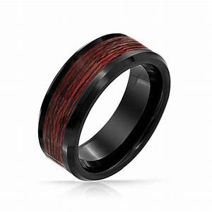 Black tungsten wood inlay mens ring for Black wedding ring men